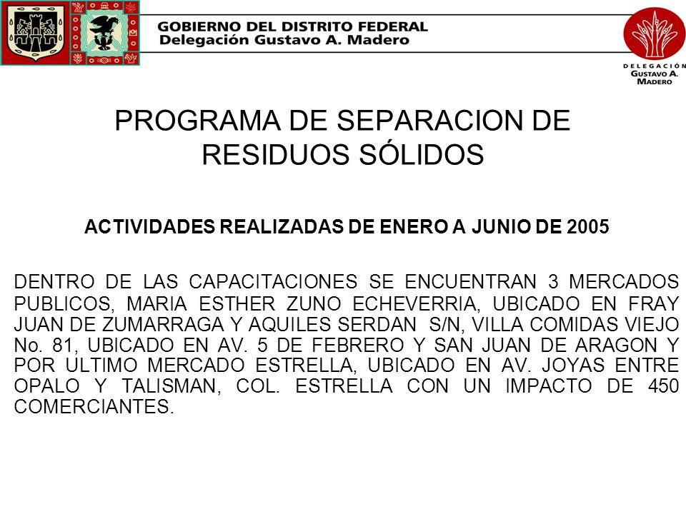PROGRAMA DE SEPARACION DE RESIDUOS SÓLIDOS ACTIVIDADES REALIZADAS DE ENERO A JUNIO DE 2005 DENTRO DE LAS CAPACITACIONES SE ENCUENTRAN 3 MERCADOS PUBLI