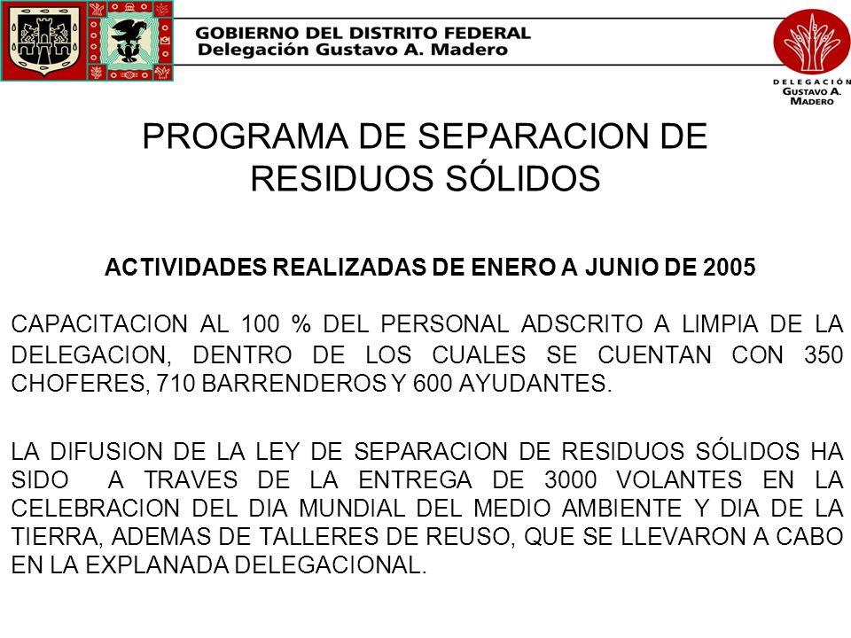 PROGRAMA DE SEPARACION DE RESIDUOS SÓLIDOS ACTIVIDADES REALIZADAS DE ENERO A JUNIO DE 2005 CAPACITACION AL 100 % DEL PERSONAL ADSCRITO A LIMPIA DE LA