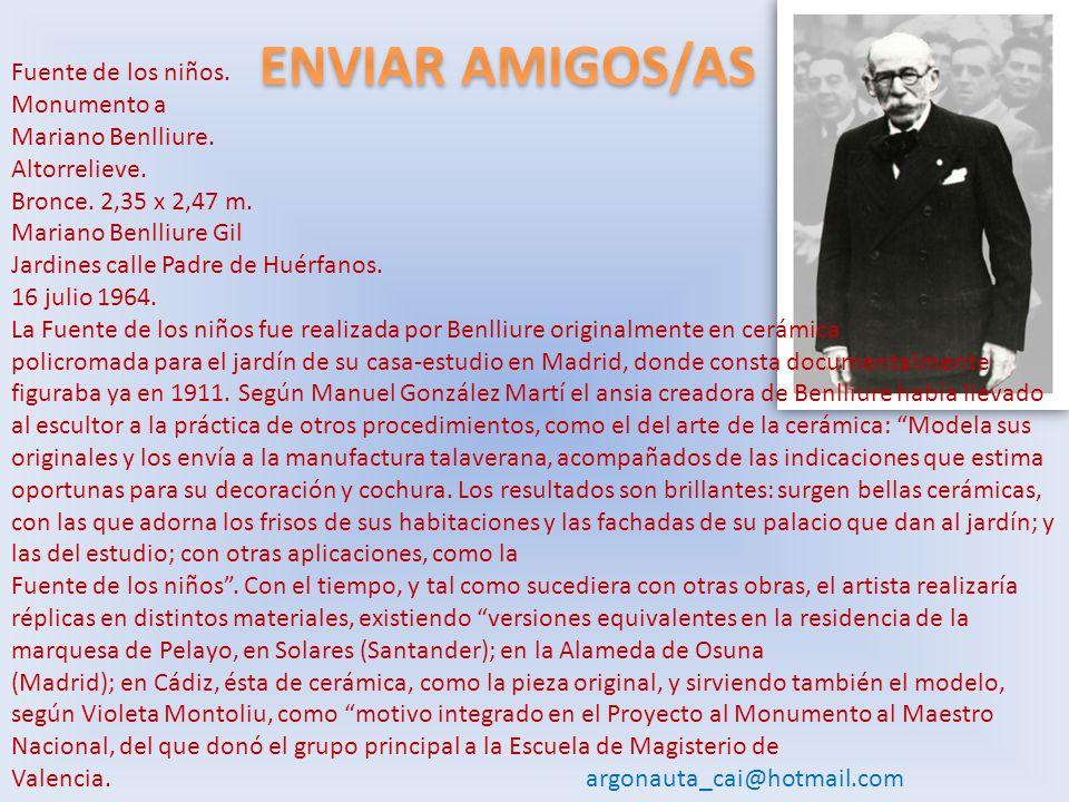 Esta fuente desapareció,debe volver a su lugar de origen dentro del parque Genovés. Fuente de los niños.Mariano Benlliure.