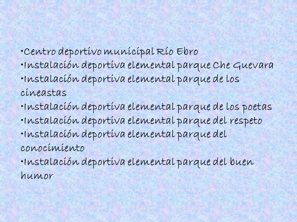 Centro deportivo municipal Río Ebro Instalación deportiva elemental parque Che Guevara Instalación deportiva elemental parque de los cineastas Instala