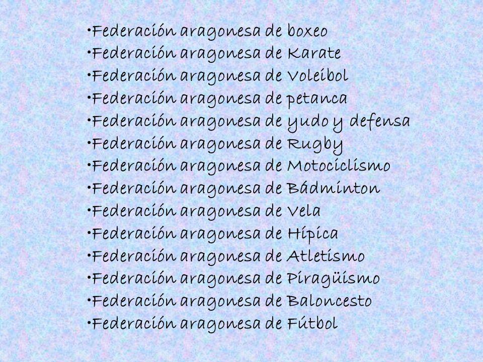 Federación aragonesa de boxeo Federación aragonesa de Karate Federación aragonesa de Voleibol Federación aragonesa de petanca Federación aragonesa de
