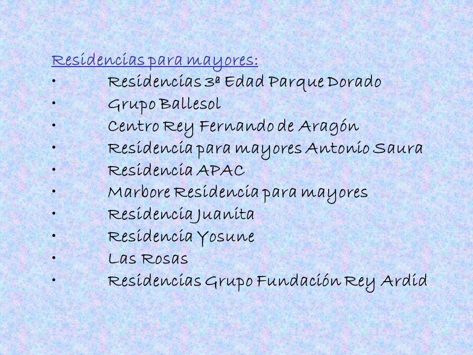 Residencias para mayores: Residencias 3ª Edad Parque Dorado Grupo Ballesol Centro Rey Fernando de Aragón Residencia para mayores Antonio Saura Residen