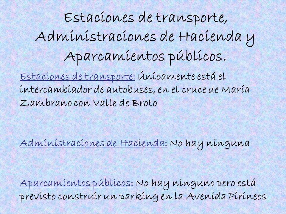 Estaciones de transporte, Administraciones de Hacienda y Aparcamientos públicos. Estaciones de transporte: Únicamente está el intercambiador de autobu