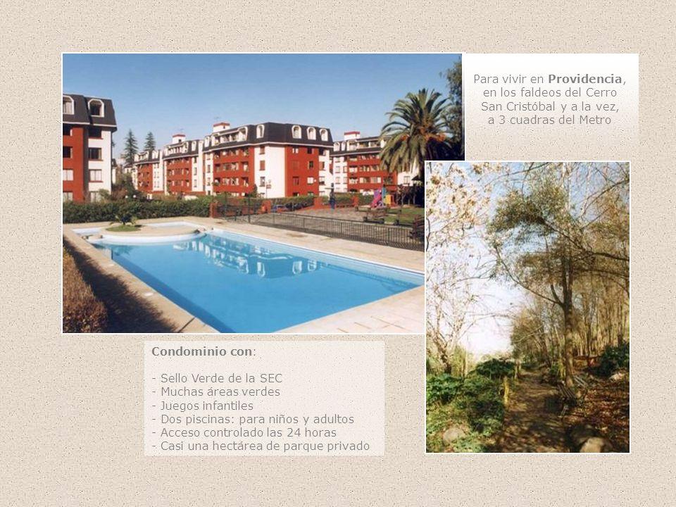Condominio con: - Sello Verde de la SEC - Muchas áreas verdes - Juegos infantiles - Dos piscinas: para niños y adultos - Acceso controlado las 24 hora