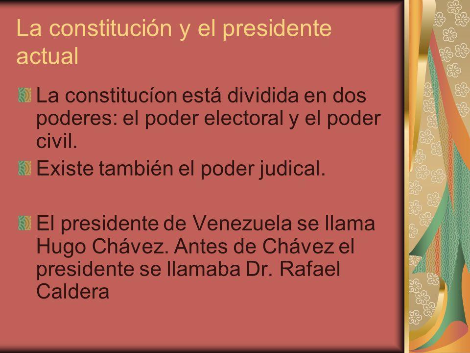 La constitución y el presidente actual La constitucíon está dividida en dos poderes: el poder electoral y el poder civil. Existe también el poder judi