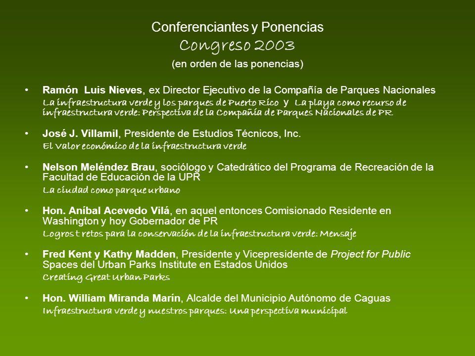 Conferenciantes y Ponencias Congreso 2003 (en orden de las ponencias) Ramón Luis Nieves, ex Director Ejecutivo de la Compañía de Parques Nacionales La