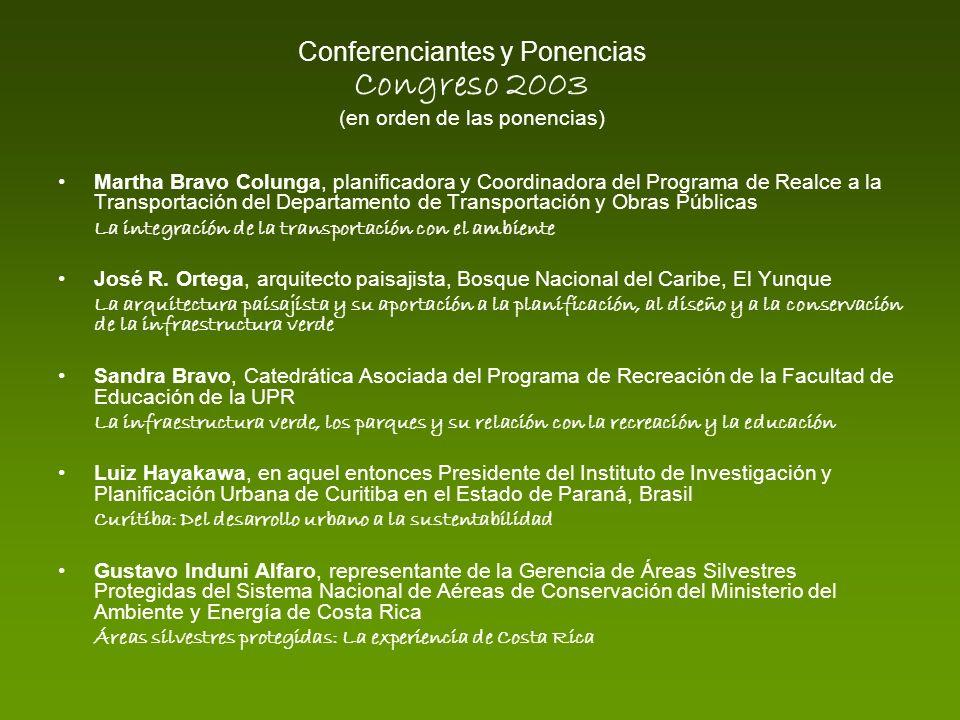 Conferenciantes y Ponencias Congreso 2003 (en orden de las ponencias) Martha Bravo Colunga, planificadora y Coordinadora del Programa de Realce a la T