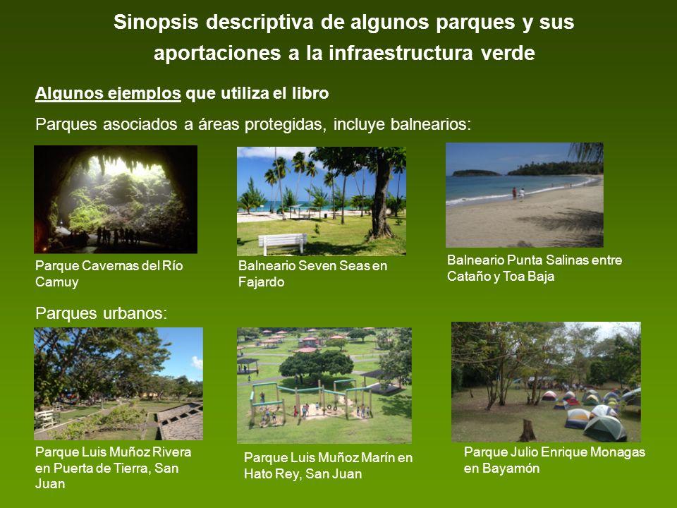 Sinopsis descriptiva de algunos parques y sus aportaciones a la infraestructura verde Algunos ejemplos que utiliza el libro Parques asociados a áreas