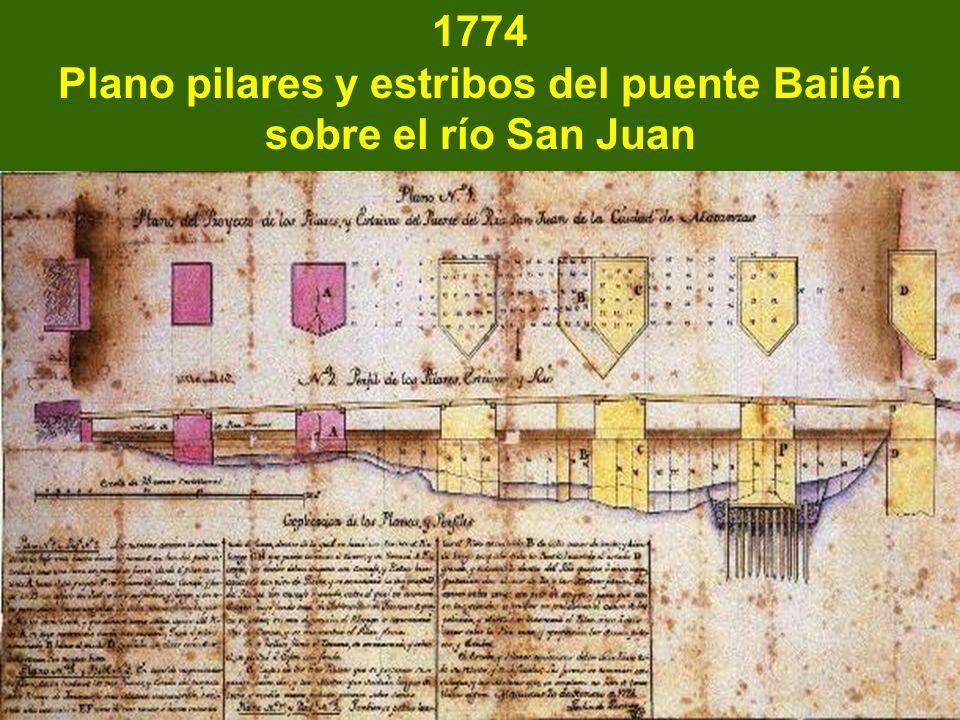 1774 Plano pilares y estribos del puente Bailén sobre el río San Juan