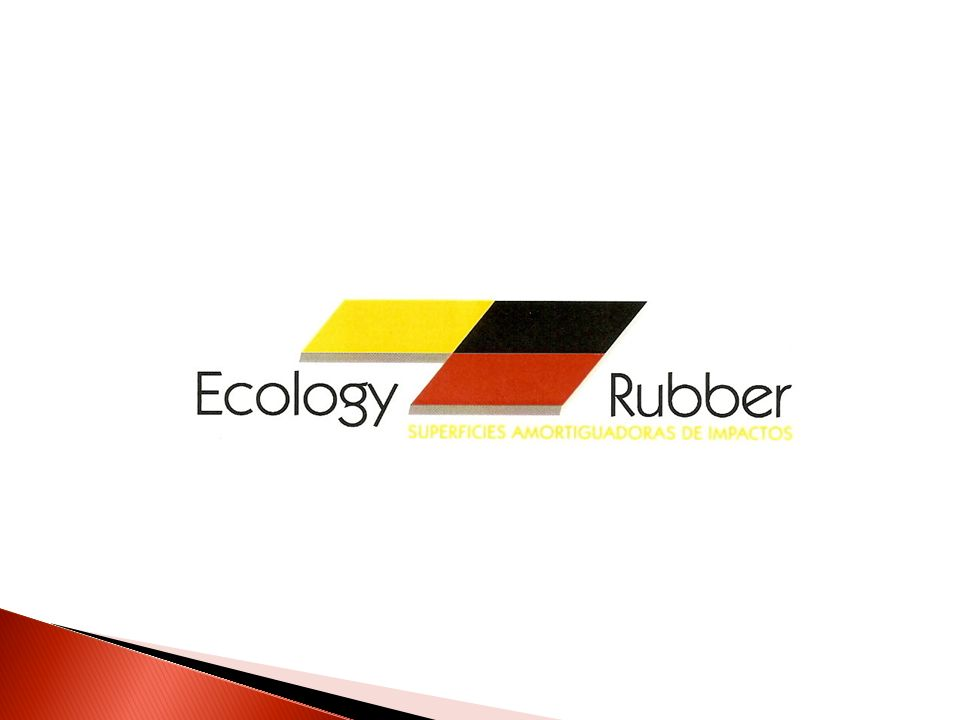 ECOLOGY RUBBER Es una empresa dedicada al desarrollo, producción y comercialización de superficies amortiguadoras de impacto 2003 Octavo Semestre Pregrado Identificación Oportunidad de Negocio 2007 - 2009 Parque E Viabilidad de la Idea 2009 -2010 Inicio de Operaciones Estado actual Historia del emprendimiento