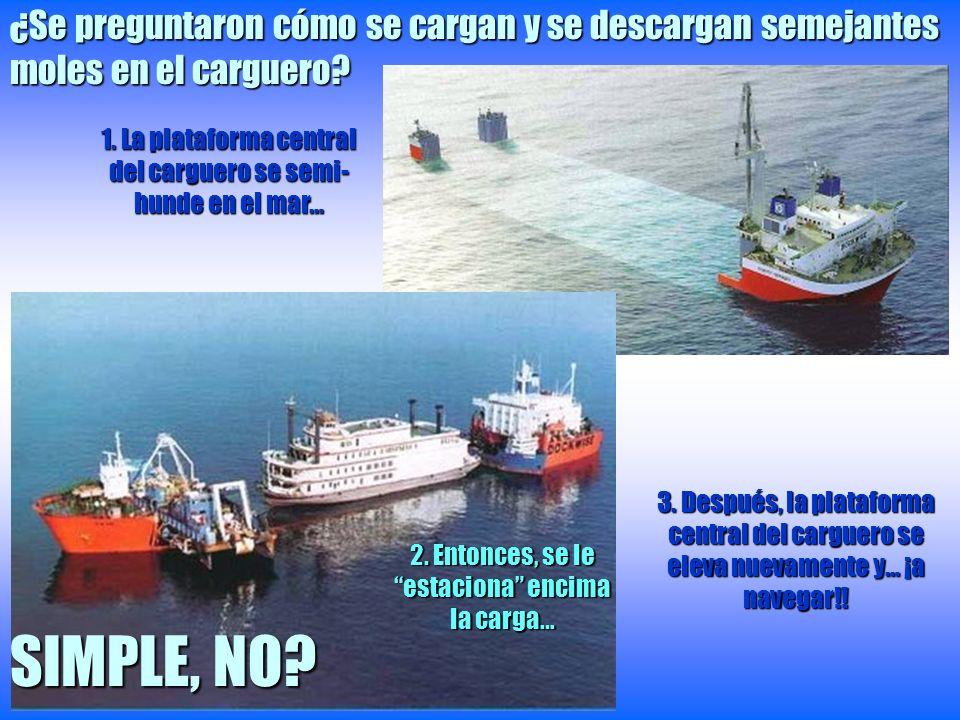 ¿Se preguntaron cómo se cargan y se descargan semejantes moles en el carguero? 1. La plataforma central del carguero se semi- hunde en el mar… 2. Ento