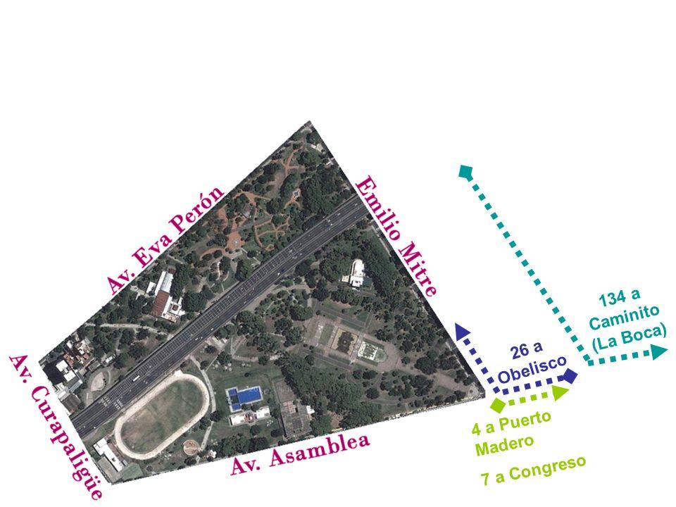 4 a Puerto Madero 7 a Congreso 134 a Caminito (La Boca) 26 a Obelisco