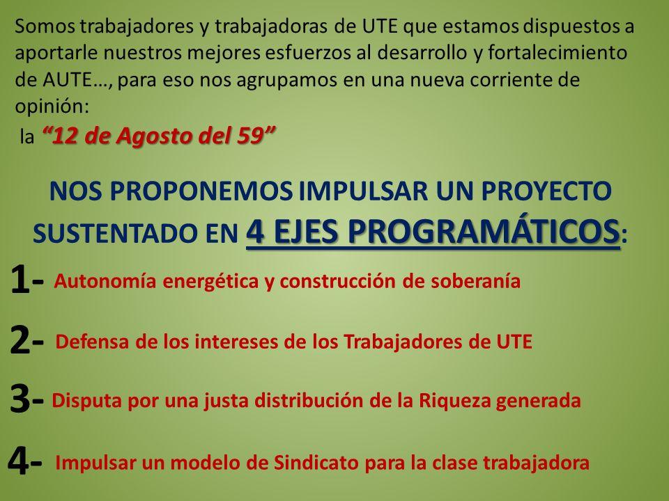 Autonomía energética y construcción de soberanía Defensa de los intereses de los Trabajadores de UTE Impulsar un modelo de Sindicato para la clase tra