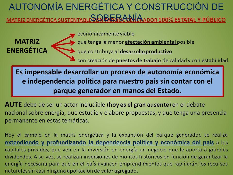 MATRIZ ENERGÉTICA SUSTENTABLE CON PARQUE GENERADOR 100% ESTATAL Y PÚBLICO AUTONOMÍA ENERGÉTICA Y CONSTRUCCIÓN DE SOBERANÍA AUTE debe de ser un actor i