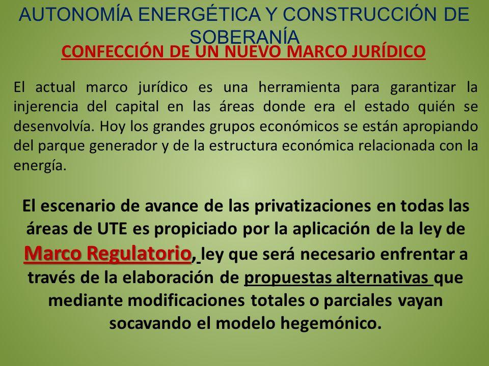 CONFECCIÓN DE UN NUEVO MARCO JURÍDICO AUTONOMÍA ENERGÉTICA Y CONSTRUCCIÓN DE SOBERANÍA El actual marco jurídico es una herramienta para garantizar la