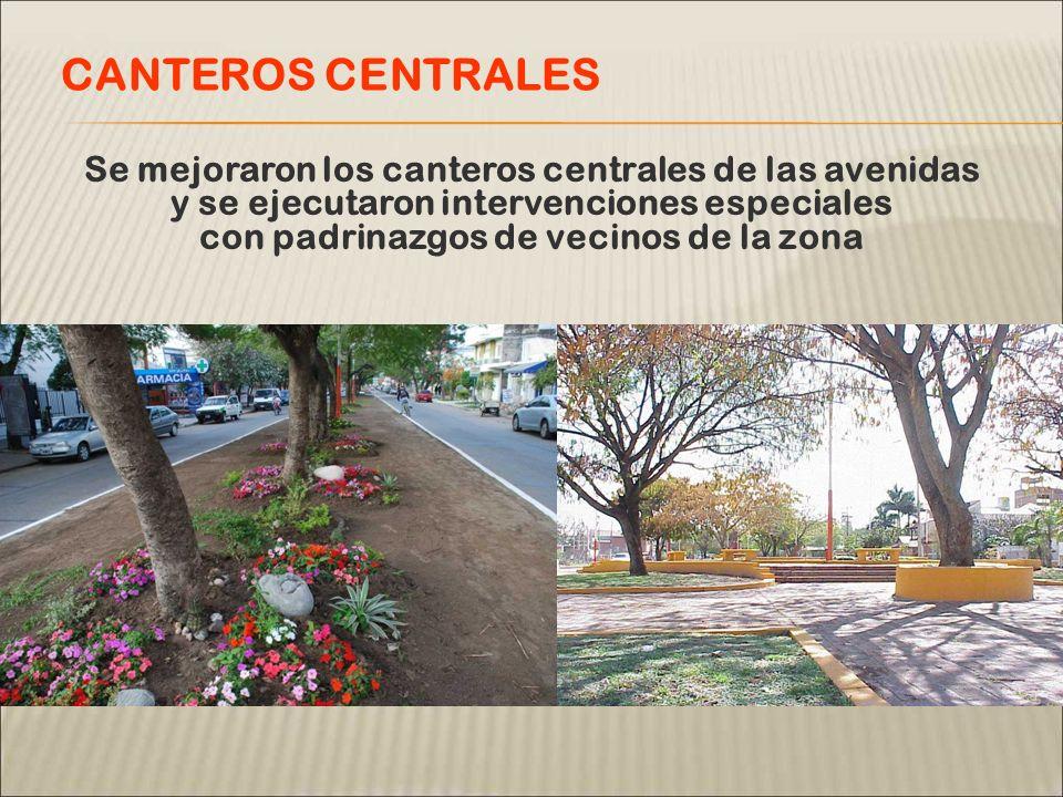 Se mejoraron los canteros centrales de las avenidas y se ejecutaron intervenciones especiales con padrinazgos de vecinos de la zona CANTEROS CENTRALES