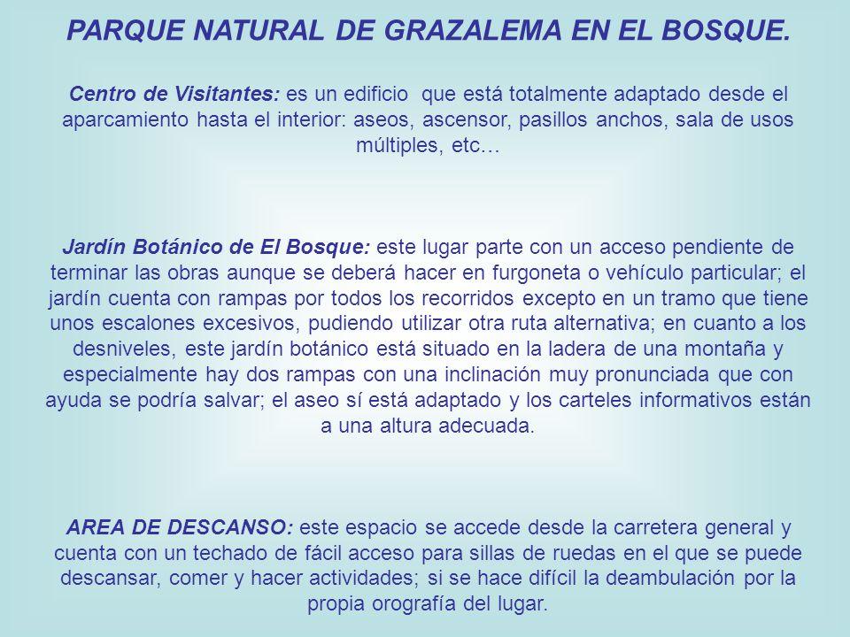 PARQUE NATURAL DE GRAZALEMA EN EL BOSQUE. Centro de Visitantes: es un edificio que está totalmente adaptado desde el aparcamiento hasta el interior: a