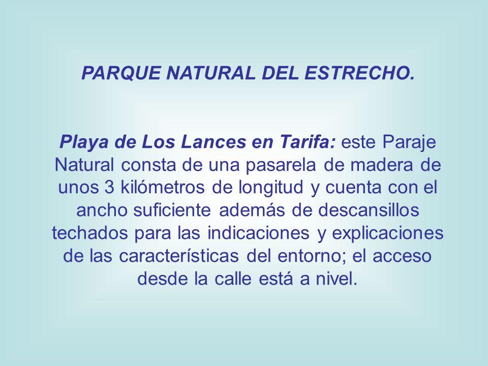 PARQUE NATURAL DEL ESTRECHO. Playa de Los Lances en Tarifa: este Paraje Natural consta de una pasarela de madera de unos 3 kilómetros de longitud y cu