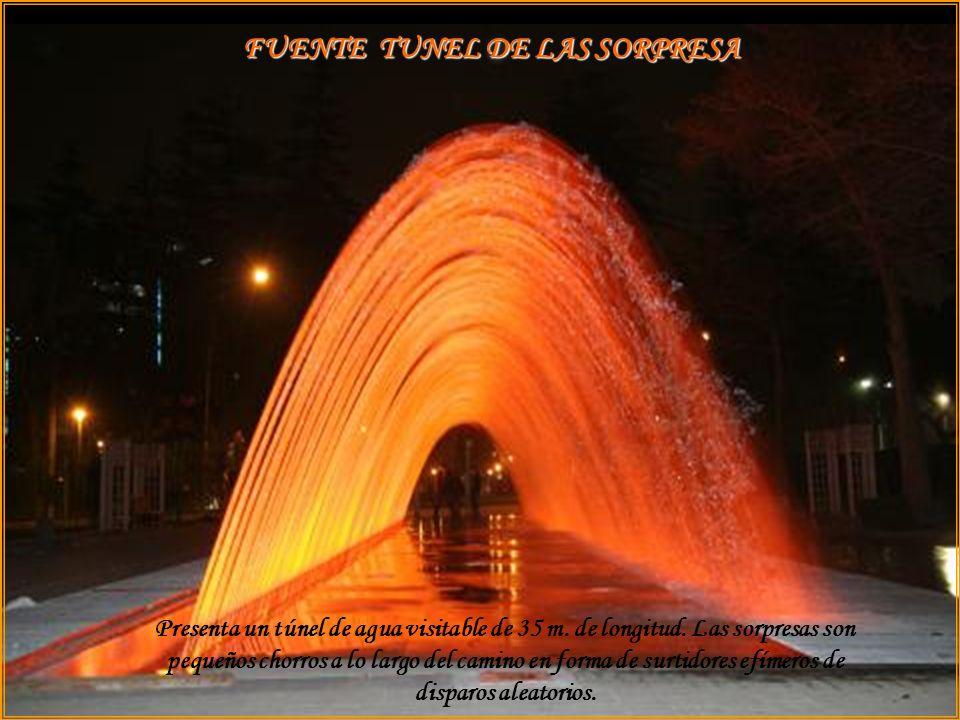 FUENTE DEL ARCOIRIS Gigantesco arco constituido por densas hileras paralelas de surtidores verticales de agua, con alturas ajustadas para proporcionar