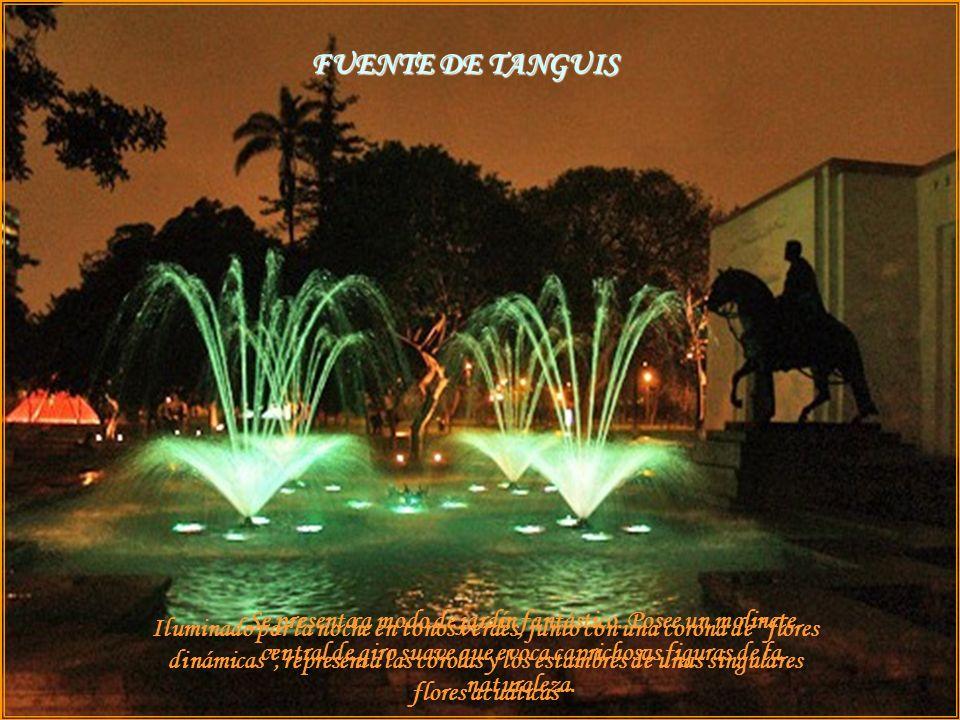 Iluminado por la noche en tonos verdes, junto con una corona de flores dinámicas, representa las corolas y los estambres de unas singulares flores acuáticas Se presenta a modo de jardín fantástico.