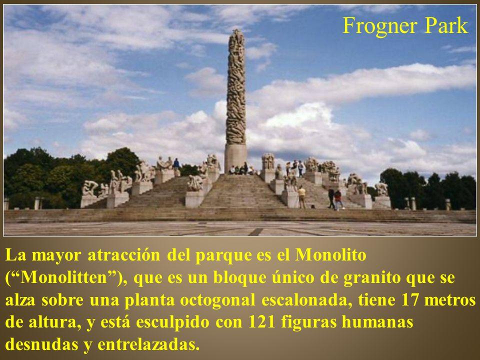 La mayor atracción del parque es el Monolito (Monolitten), que es un bloque único de granito que se alza sobre una planta octogonal escalonada, tiene 17 metros de altura, y está esculpido con 121 figuras humanas desnudas y entrelazadas.