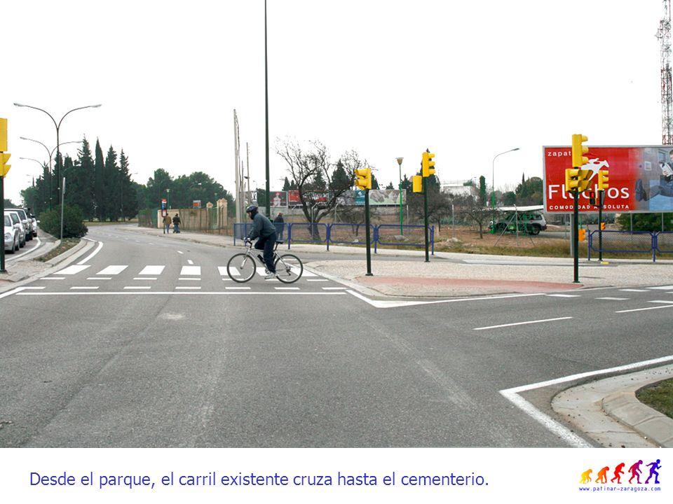 Desde el parque, el carril existente cruza hasta el cementerio.