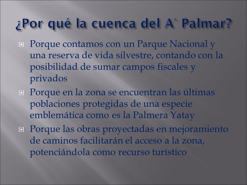 ¿Por qué la cuenca del A° Palmar? Porque contamos con un Parque Nacional y una reserva de vida silvestre, contando con la posibilidad de sumar campos