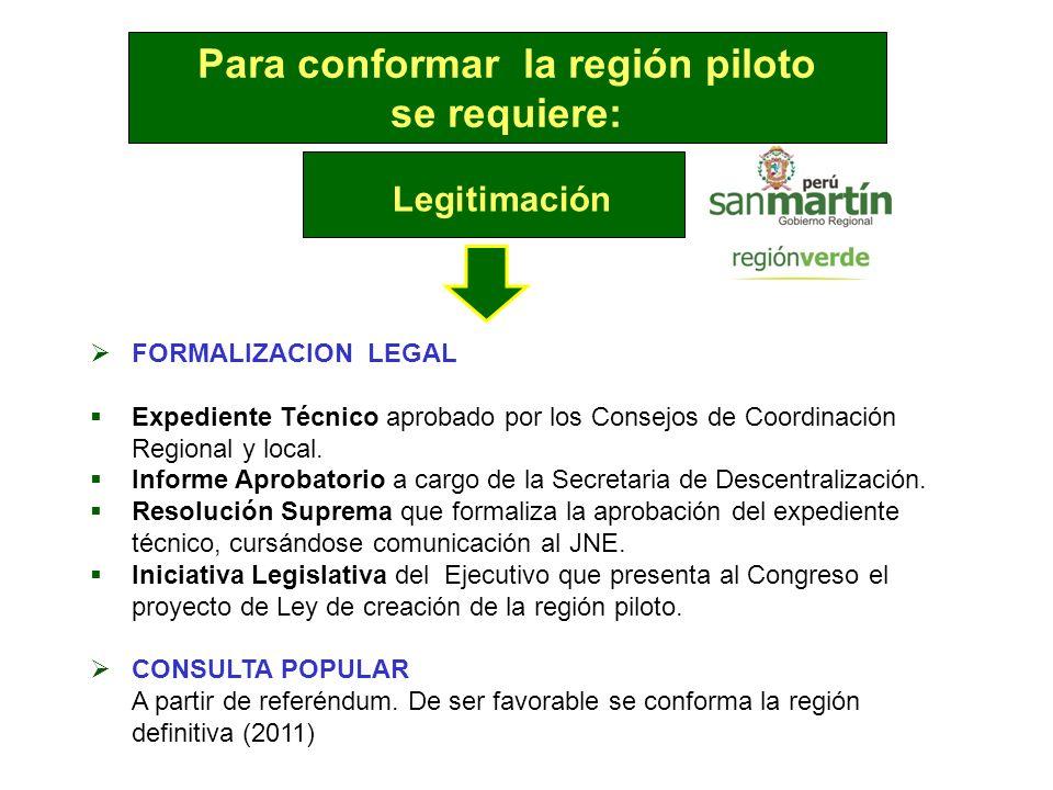 Para conformar la región piloto se requiere: Legitimación FORMALIZACION LEGAL Expediente Técnico aprobado por los Consejos de Coordinación Regional y