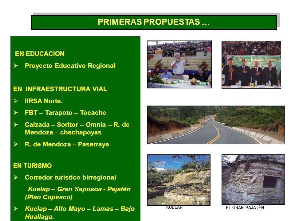 EN EDUCACION Proyecto Educativo Regional EN INFRAESTRUCTURA VIAL IIRSA Norte. FBT – Tarapoto – Tocache Calzada – Soritor – Omnia – R. de Mendoza – cha