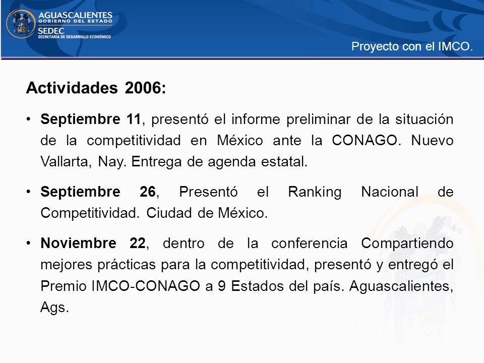 Actividades 2006: Septiembre 11, presentó el informe preliminar de la situación de la competitividad en México ante la CONAGO. Nuevo Vallarta, Nay. En