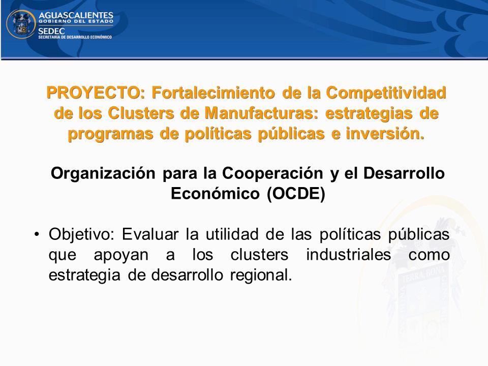 Organización para la Cooperación y el Desarrollo Económico (OCDE) Objetivo: Evaluar la utilidad de las políticas públicas que apoyan a los clusters in