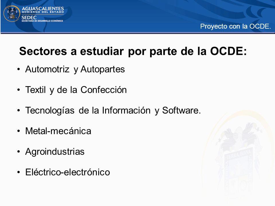 Sectores a estudiar por parte de la OCDE: Automotriz y Autopartes Textil y de la Confección Tecnologías de la Información y Software. Metal-mecánica A