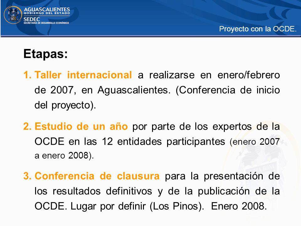 Etapas: 1.Taller internacional a realizarse en enero/febrero de 2007, en Aguascalientes. (Conferencia de inicio del proyecto). 2.Estudio de un año por