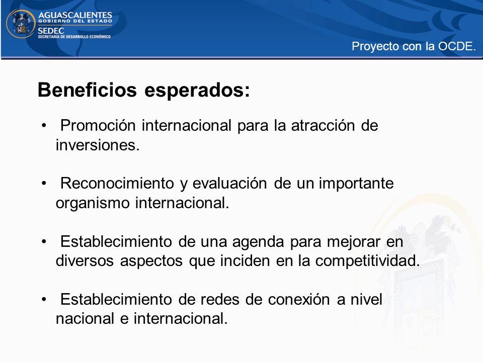 Beneficios esperados: Promoción internacional para la atracción de inversiones. Reconocimiento y evaluación de un importante organismo internacional.