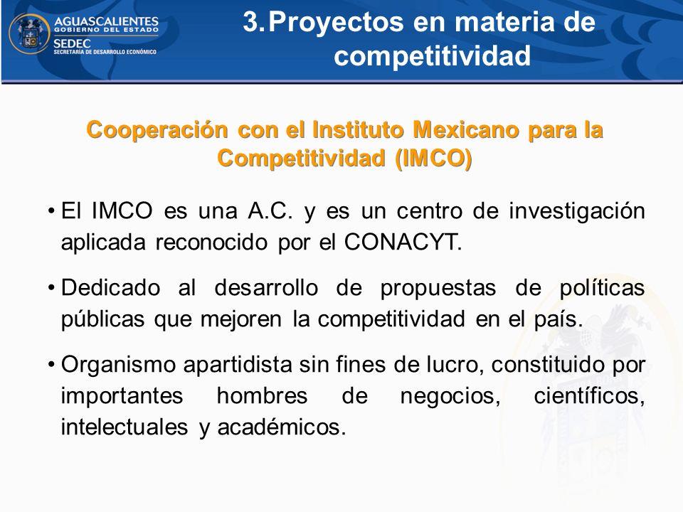 3.Proyectos en materia de competitividad El IMCO es una A.C. y es un centro de investigación aplicada reconocido por el CONACYT. Dedicado al desarroll