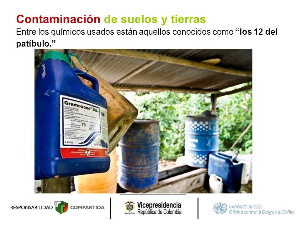 Contaminación de suelos y tierras Entre los químicos usados están aquellos conocidos como los 12 del patíbulo.
