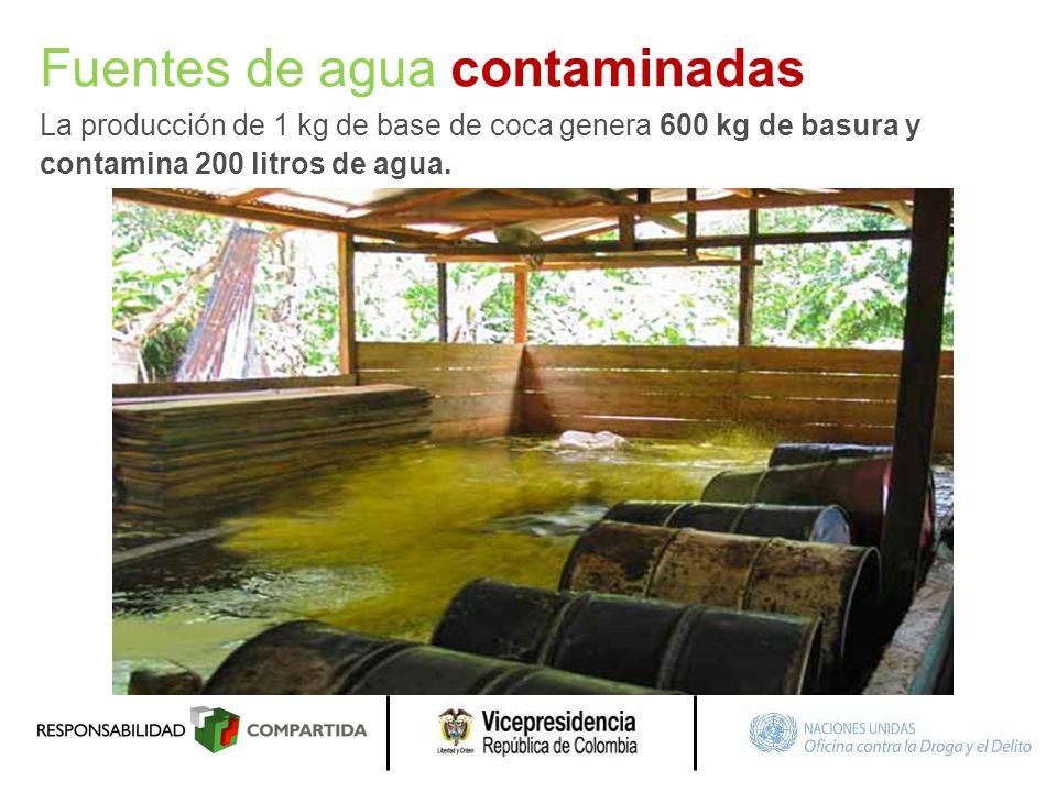 Fuentes de agua contaminadas La producción de 1 kg de base de coca genera 600 kg de basura y contamina 200 litros de agua.