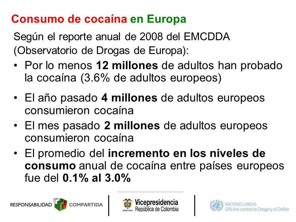 Consumo de cocaína en Europa Según el reporte anual de 2008 del EMCDDA (Observatorio de Drogas de Europa): Por lo menos 12 millones de adultos han pro