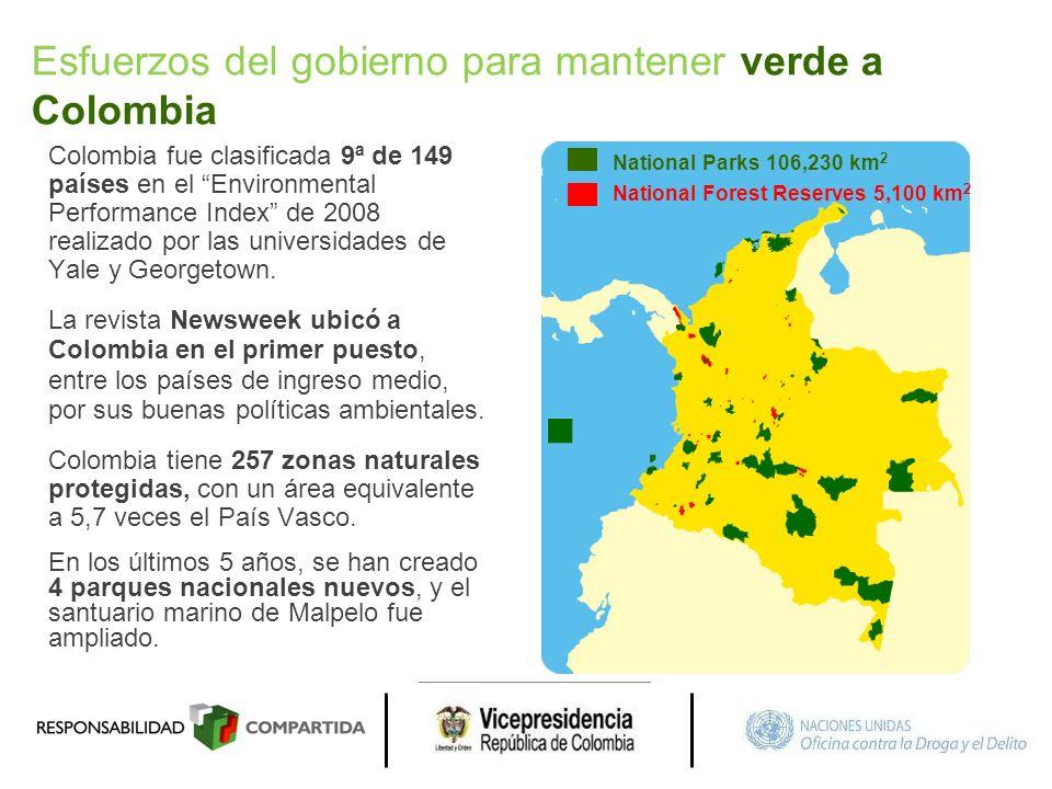 Colombia fue clasificada 9ª de 149 países en el Environmental Performance Index de 2008 realizado por las universidades de Yale y Georgetown. La revis