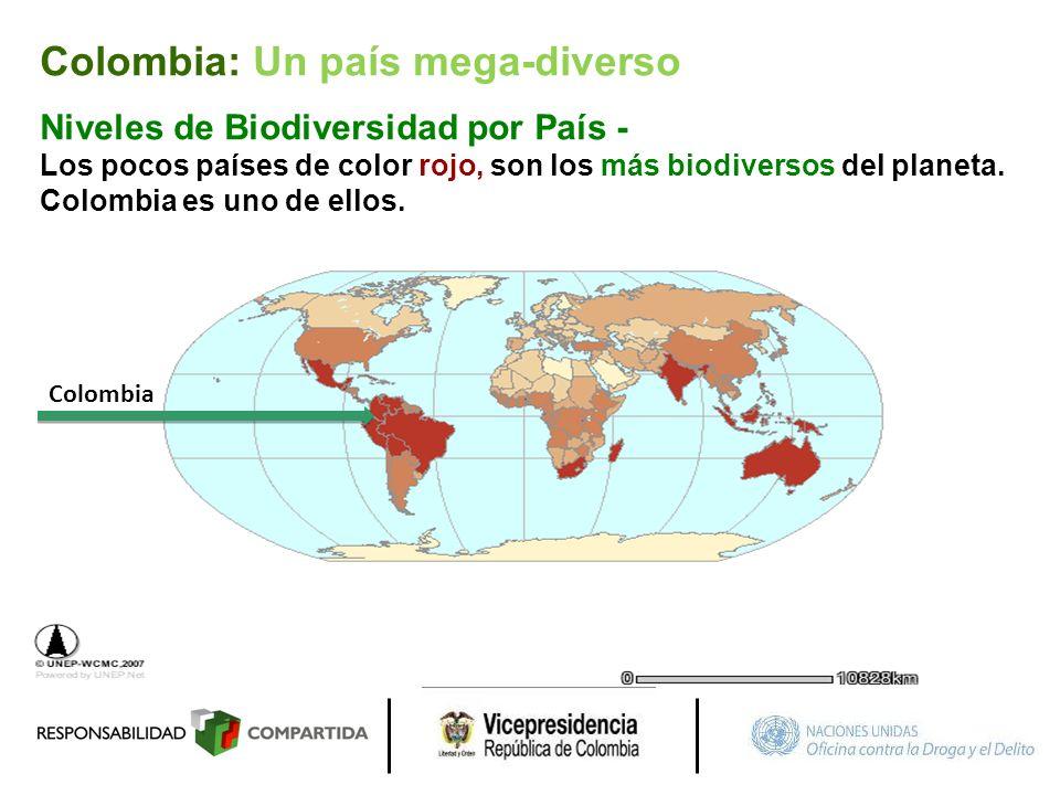 Colombia Niveles de Biodiversidad por País - Los pocos países de color rojo, son los más biodiversos del planeta. Colombia es uno de ellos. Colombia: