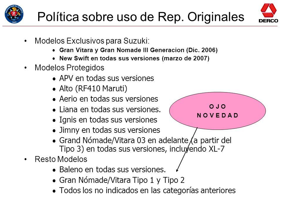 Política sobre uso de Rep. Originales Modelos Exclusivos para Suzuki: Gran Vitara y Gran Nomade III Generacion (Dic. 2006) New Swift en todas sus vers