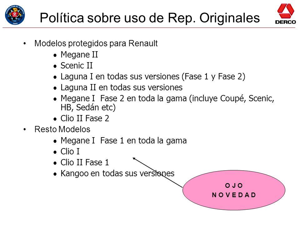 Política sobre uso de Rep. Originales Modelos protegidos para Renault Megane II Scenic II Laguna I en todas sus versiones (Fase 1 y Fase 2) Laguna II