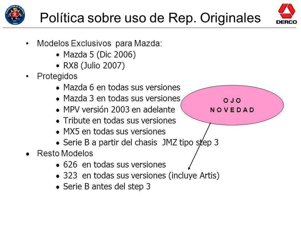 Política sobre uso de Rep. Originales Modelos Exclusivos para Mazda: Mazda 5 (Dic 2006) RX8 (Julio 2007) Protegidos Mazda 6 en todas sus versiones Maz
