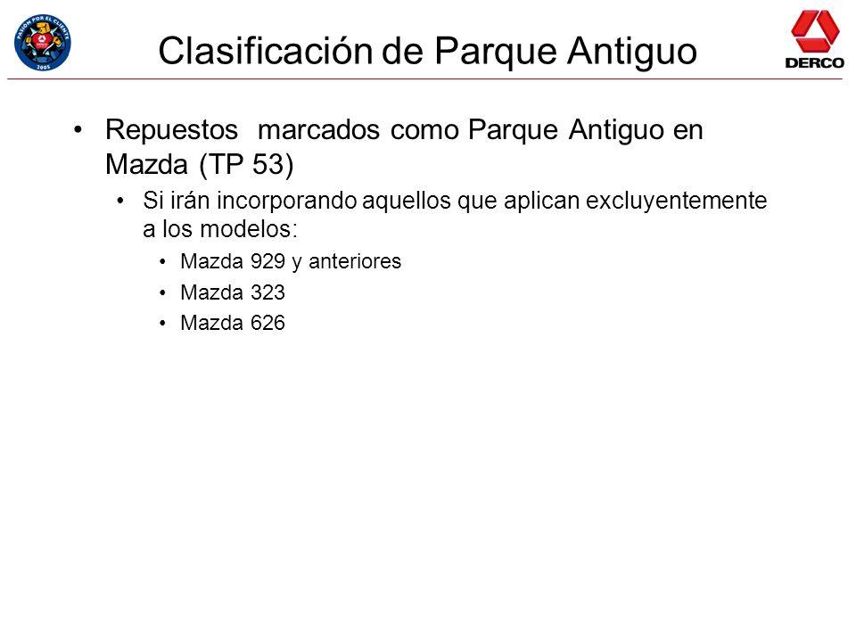 Clasificación de Parque Antiguo Repuestos marcados como Parque Antiguo en Mazda (TP 53) Si irán incorporando aquellos que aplican excluyentemente a lo