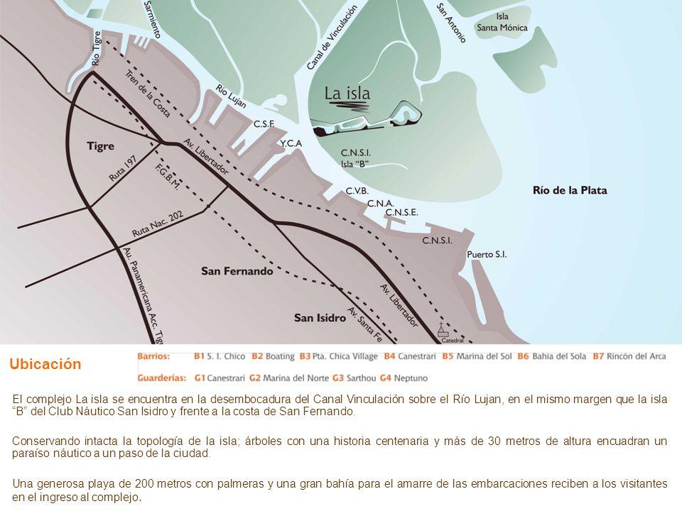 Ubicación El complejo La isla se encuentra en la desembocadura del Canal Vinculación sobre el Río Lujan, en el mismo margen que la isla B del Club Náu