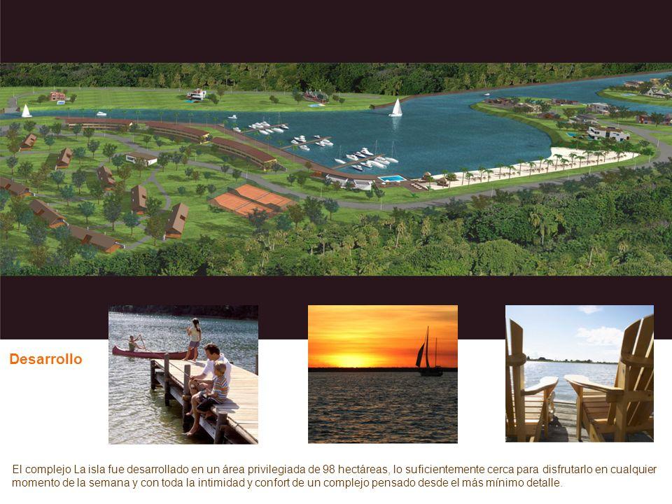 El complejo La isla fue desarrollado en un área privilegiada de 98 hectáreas, lo suficientemente cerca para disfrutarlo en cualquier momento de la sem