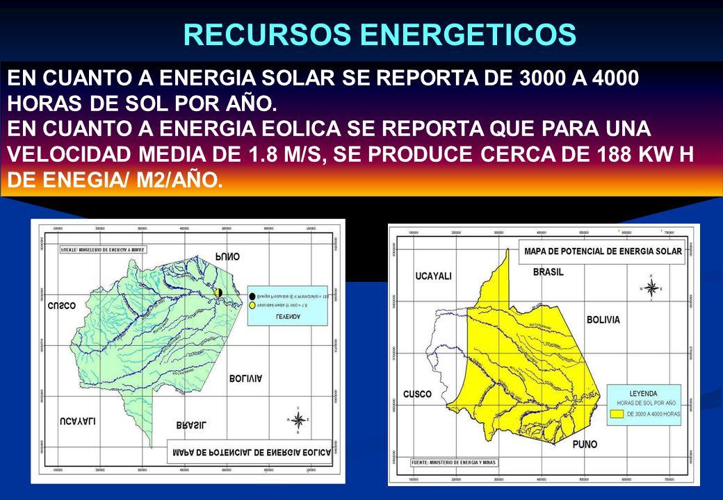 RECURSOS HIDROCARBONIFEROS De acuerdos a reportes de PerúPetro S.A. en la cuenca hidrográfica de la Región Madre de Dios, se ha estimado 32 Trillones