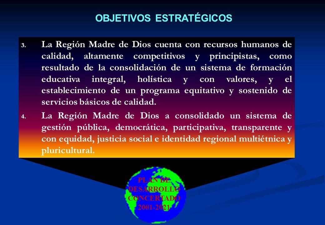 OBJETIVOS ESTRATÉGICOS 1. La Región Madre de Dios ha afirmado su condición bioceánica y amazónica, consolidando su condición de capital de la biodiver