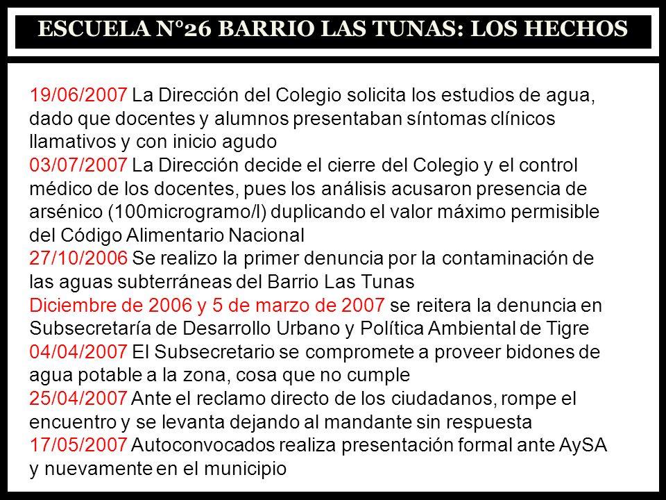 ESCUELA N°26 BARRIO LAS TUNAS: LOS HECHOS 19/06/2007 La Dirección del Colegio solicita los estudios de agua, dado que docentes y alumnos presentaban s