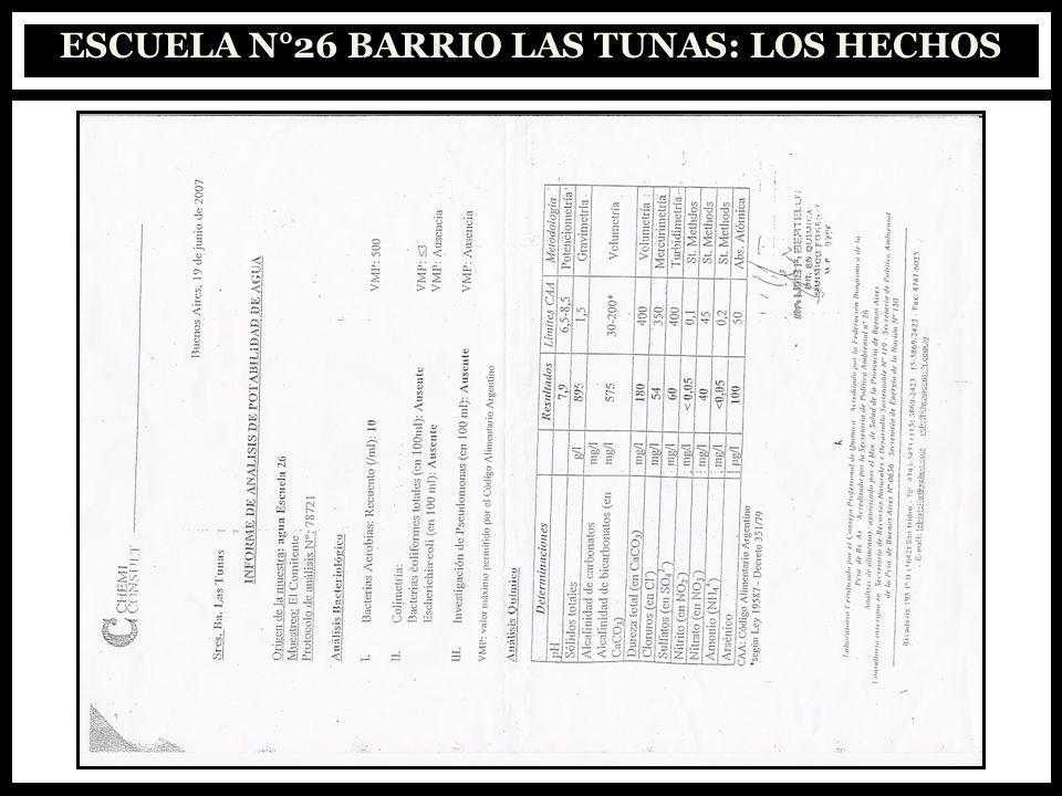 ESCUELA N°26 BARRIO LAS TUNAS: LOS HECHOS